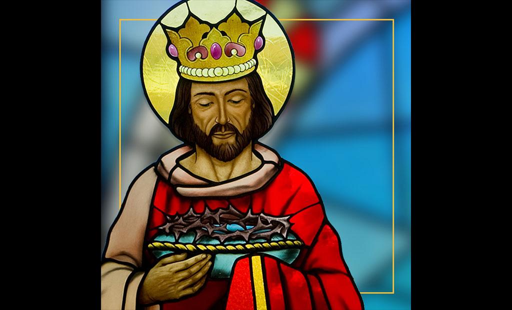شاه لوئی نهم در حال حمل تاج خار مسیح