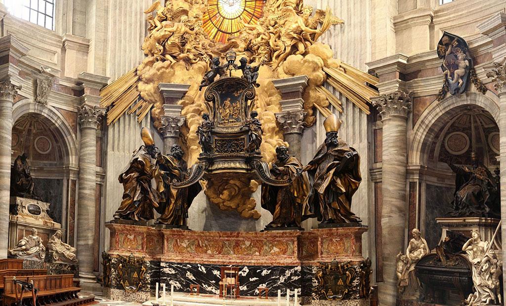 صندلی سن پیتر در دستان چهار تن از پدران کلیسا