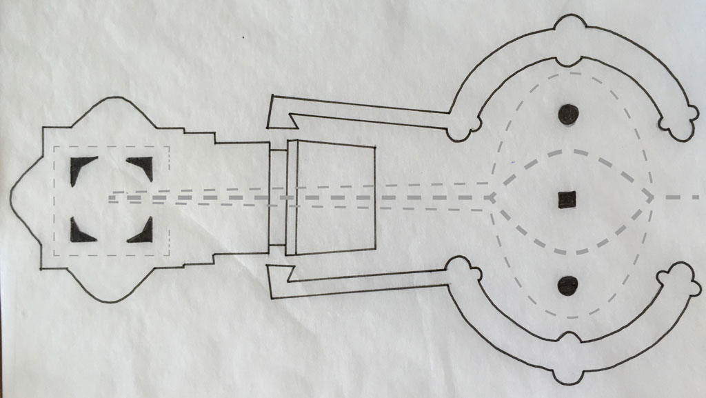 نقشه کلیسا و میدان سن پیتر واتیکان