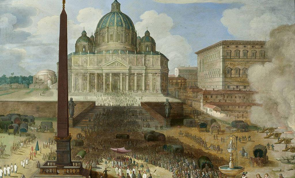 نقاشی قدیمی از صحن جلوی کلیسای سن پیتر قبل از ساخته شدن میدان سن پیتر