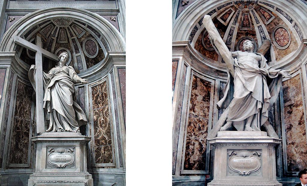 مجسمه قدیس اندرو (راست) و قدیسه هلنا (چپ)