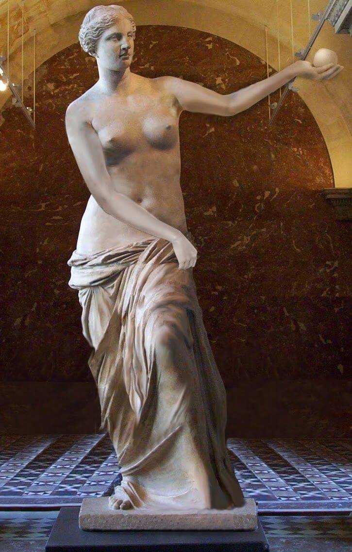 تصویری احتمالی از شکل اولیه مجسمه ونوس در حالی که سیبی در دست داشته است