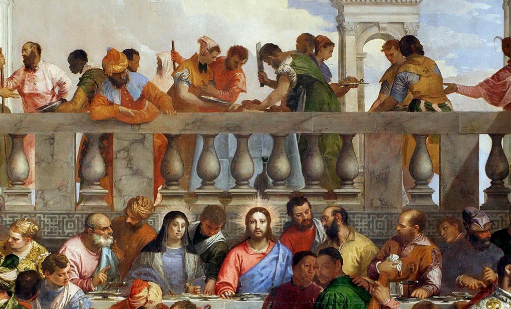 قصابی که بالای سر عیسی گوشت را تکه می کند اشاره به سرنوشت مسیح دارد