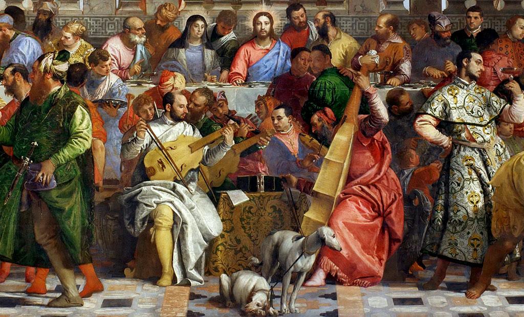 گروه موسیقی در مقابل عیسی در حال نواختن هستند